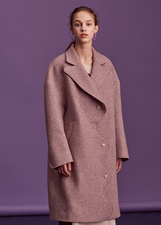 purple curved coat